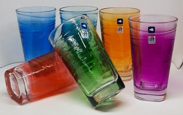 6 Trinkgläser groß farbig sortiert Verlauf Vario