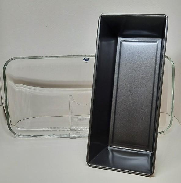 Backform 26x12cm mit Tortenplatte Glas 33x16cm